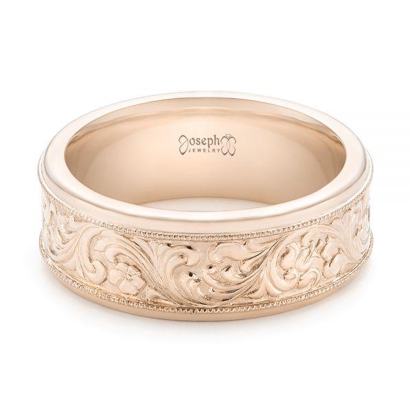 18k Rose Gold Custom Hand Engraved Men's Wedding Band