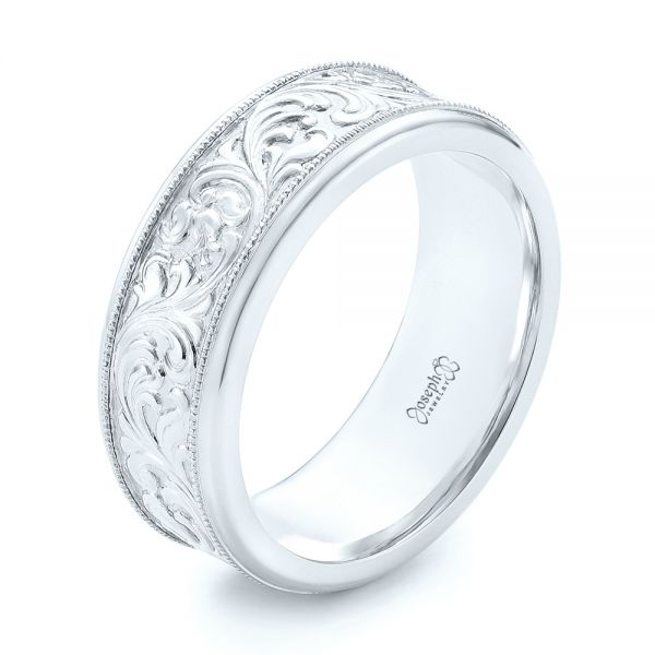 14k White Gold Custom Hand Engraved Men S Wedding Band 102980
