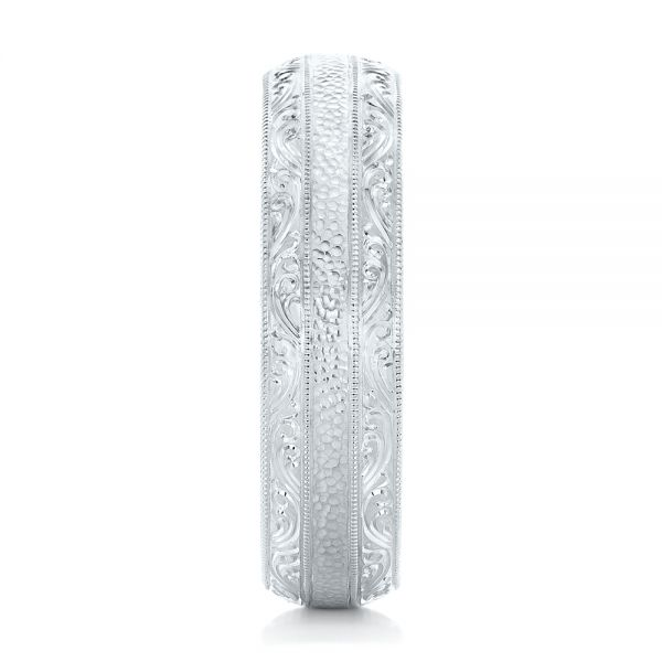 Platinum Custom Hand Engraved Men's Wedding Band - Side View -