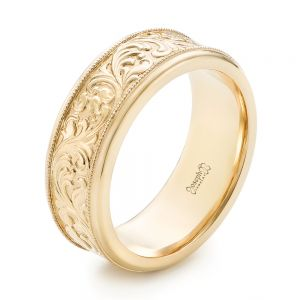 Custom Hand Engraved Men's Wedding Band - Image