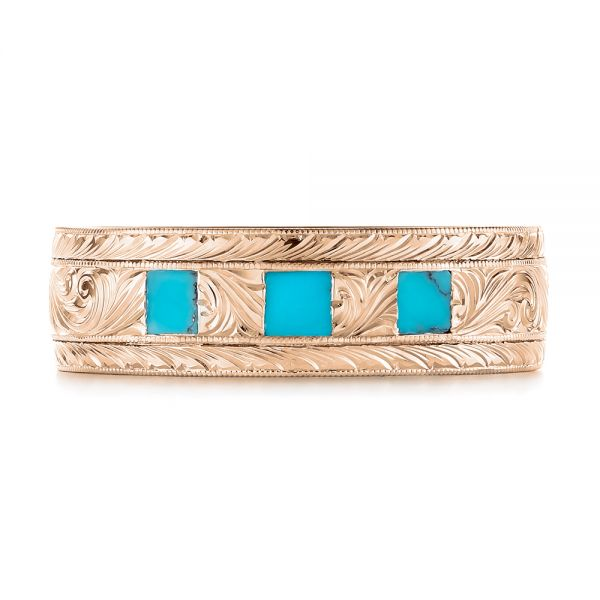 18k Rose Gold 18k Rose Gold Custom Hand Engraved Turquoise Men's Band - Top View -  104862