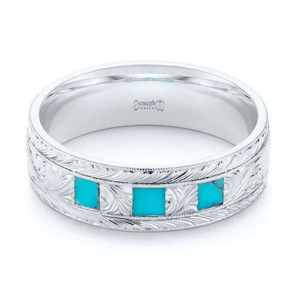 Custom Hand Engraved Turquoise Men's Band - Flat View -  104862 - Thumbnail