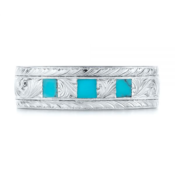 18k White Gold 18k White Gold Custom Hand Engraved Turquoise Men's Band - Top View -  104862