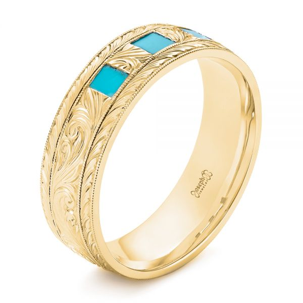14K Yellow Gold Custom Hand Engraved Turquoise Men's Band - Three-Quarter View -  104862 - Thumbnail