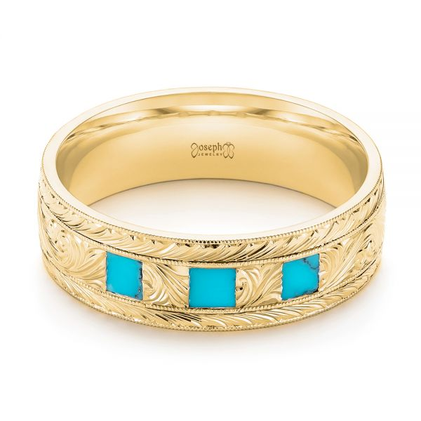 14K Yellow Gold Custom Hand Engraved Turquoise Men's Band - Flat View -  104862 - Thumbnail