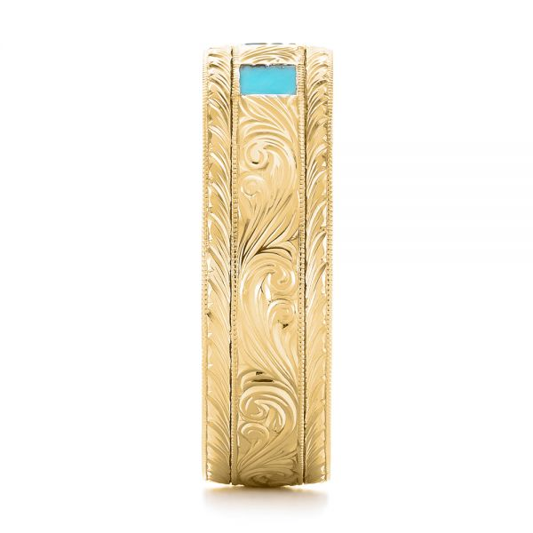 14K Yellow Gold Custom Hand Engraved Turquoise Men's Band - Side View -  104862 - Thumbnail