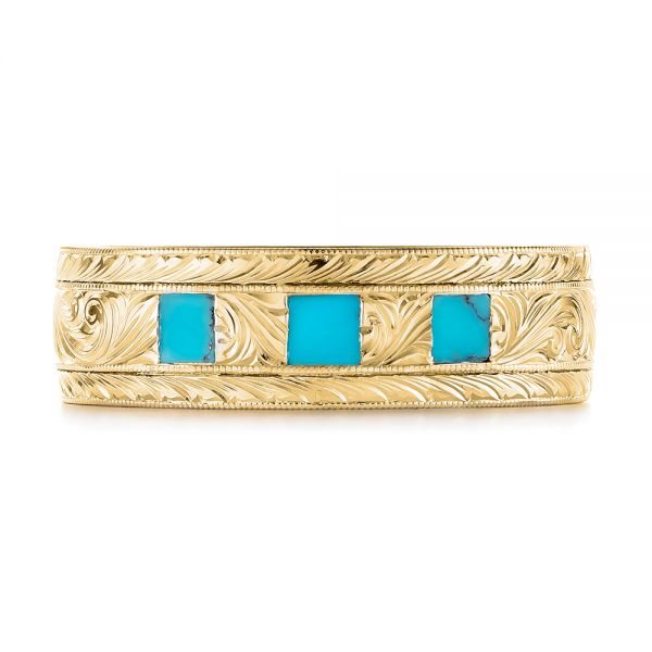 14K Yellow Gold Custom Hand Engraved Turquoise Men's Band - Top View -  104862 - Thumbnail
