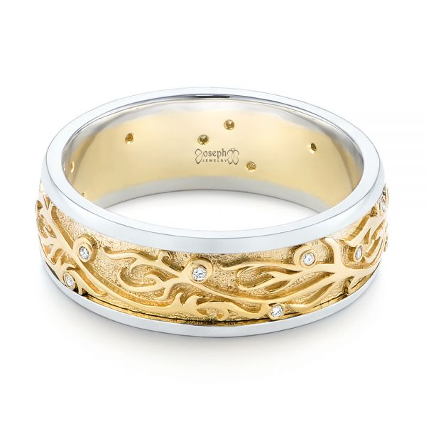 14k Yellow Gold And 14K Gold Custom Hand Engraved Two-tone Diamond Men's Band - Flat View -