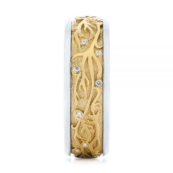 14k Yellow Gold And 14K Gold Custom Hand Engraved Two-tone Diamond Men's Band - Side View -