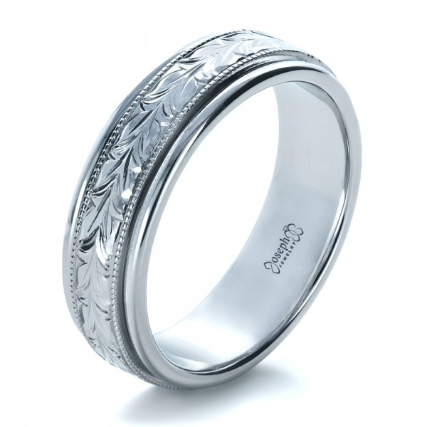 Custom hand engraved wedding band 1213 for Engraving on mens wedding rings