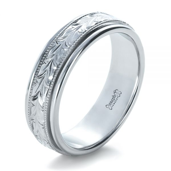 14k White Gold Custom Hand Engraved Wedding Band - Three-Quarter View -