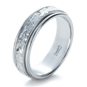Custom Hand Engraved Wedding Band - Image