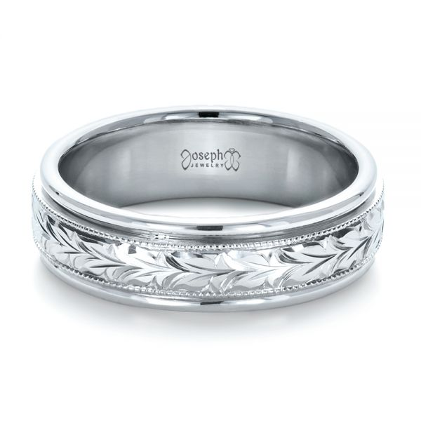 14k White Gold Custom Hand Engraved Wedding Band - Flat View -