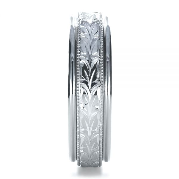 14k White Gold Custom Hand Engraved Wedding Band - Side View -