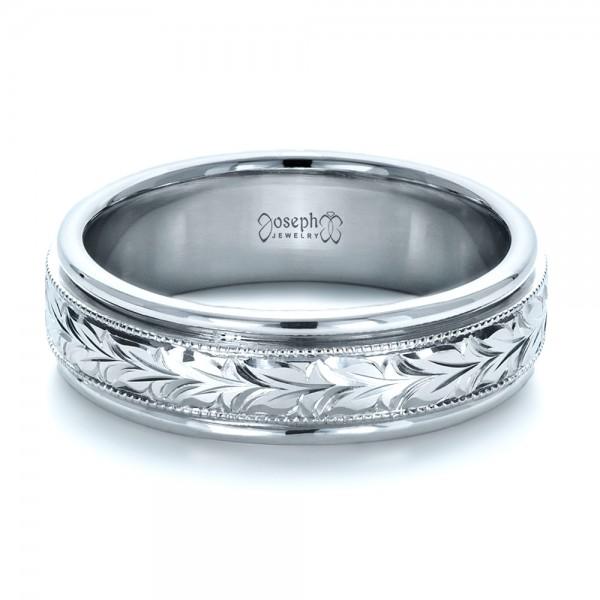 Custom Hand Engraved Wedding Band - Laying View