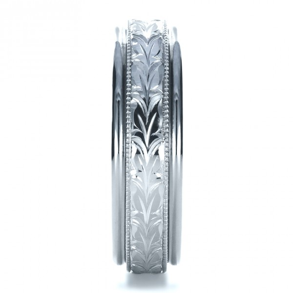 Custom Hand Engraved Wedding Band - Side View -  1213 - Thumbnail