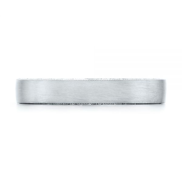 Platinum Custom Hand Engraved And Brushed Men's Band - Top View -