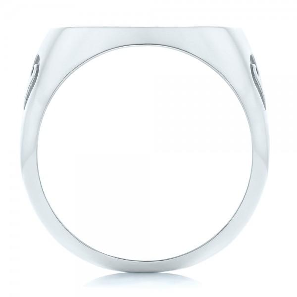 Custom Engraved Men's Wedding Band - Finger Through View