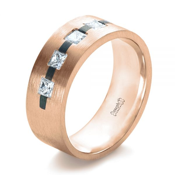 14k Rose Gold And Platinum 14k Rose Gold And Platinum Custom Inlay Diamond Men's Band - Three-Quarter View -