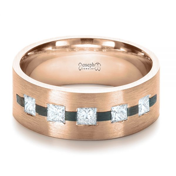14k Rose Gold And Platinum 14k Rose Gold And Platinum Custom Inlay Diamond Men's Band - Flat View -