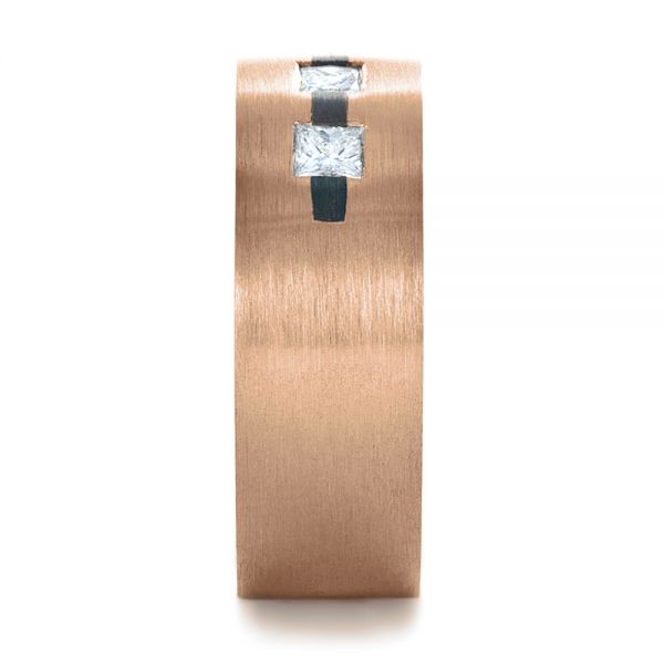 14k Rose Gold And Platinum 14k Rose Gold And Platinum Custom Inlay Diamond Men's Band - Side View -