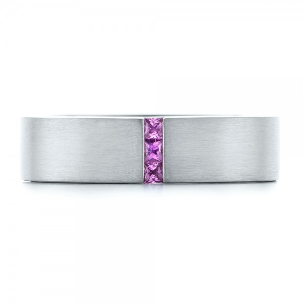 Custom Lavender Sapphire Men's Wedding Band - Top View