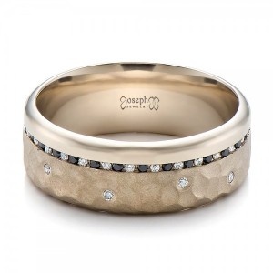 Custom Men's Black and White Diamond and Hammered Finish Wedding Band