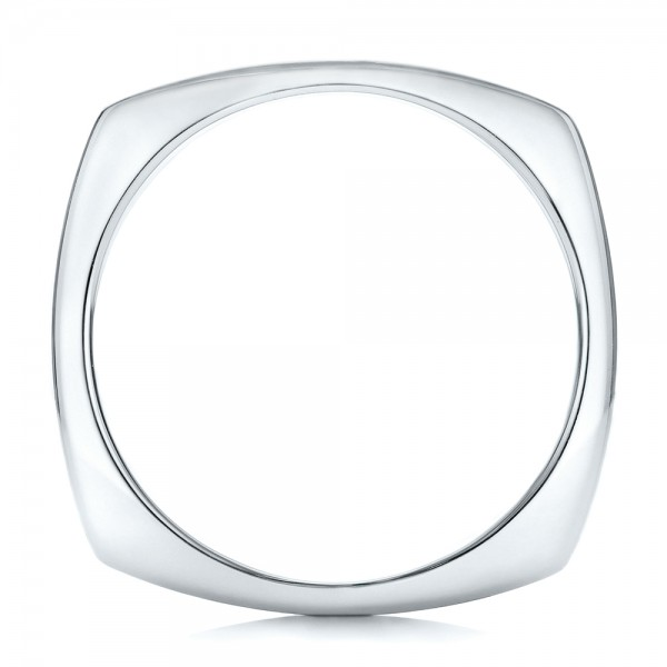 Custom Men's Brushed Two-Tone White Gold Band - Finger Through View