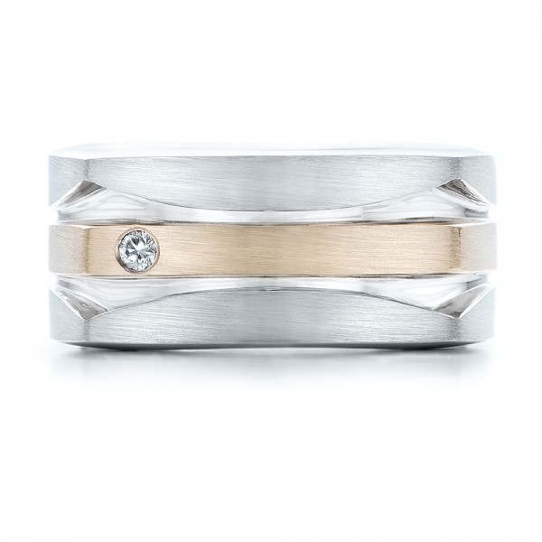 Custom Men's Brushed Two-Tone White Gold Band - Top View