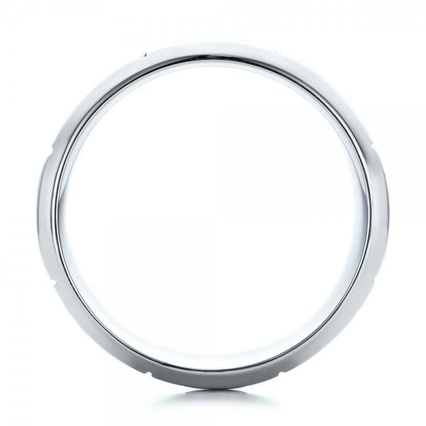 Custom Men's Contemporary Platinum Band - Finger Through View