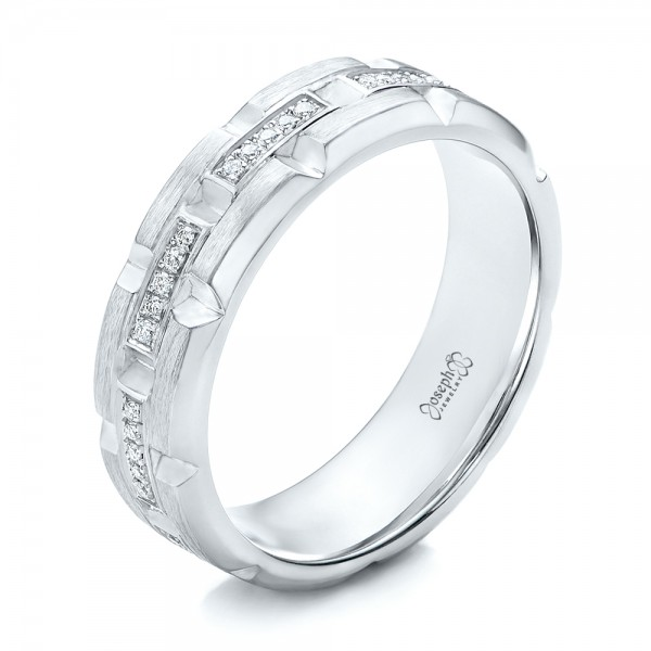 Custom Men's Diamond Brick Cut Wedding Band
