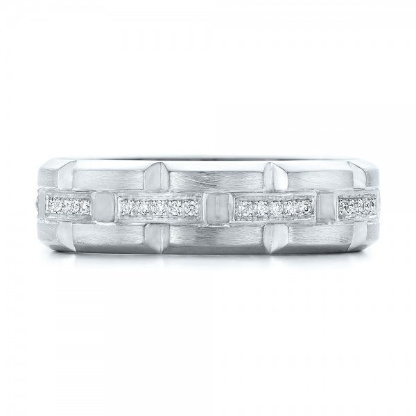 Custom Men's Diamond Brick Cut Wedding Band - Top View -  101866 - Thumbnail
