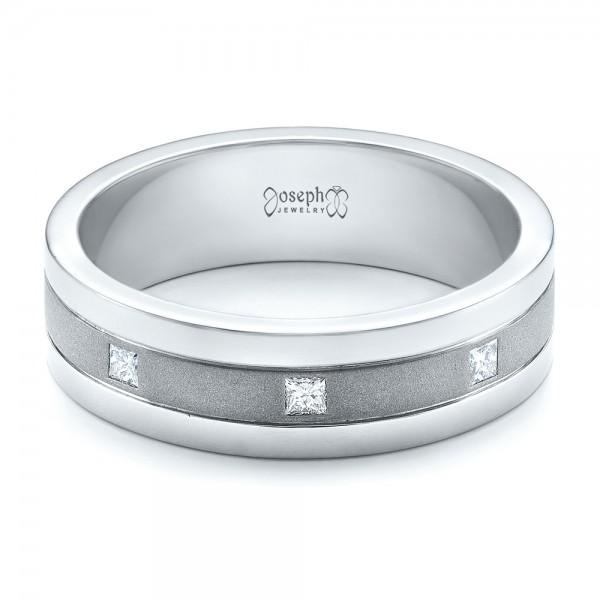 Custom Men's Diamond Sandblasted Finish Wedding Band - Laying View