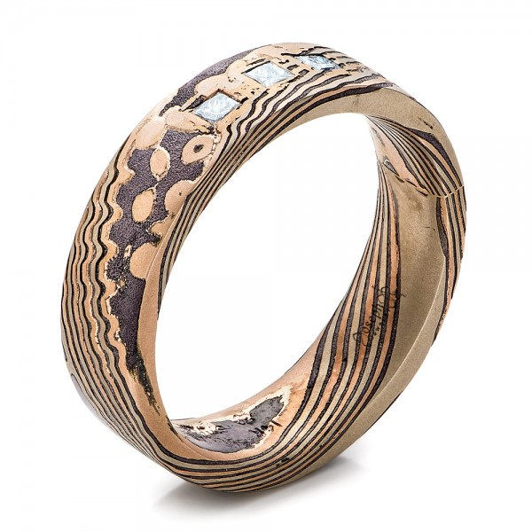 Custom Men's Diamond and Mokume Wedding Band - Image
