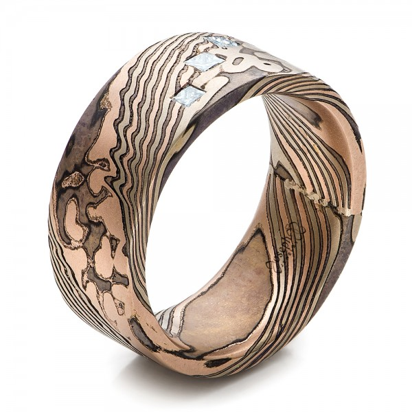 p wedding gane rings band mokume beveled inlay waipahumokumetungstenring tungsten damascus waipahu style