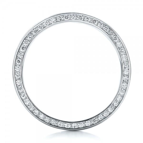 Custom Men's Diamond and Mokume Wedding Band - Finger Through View