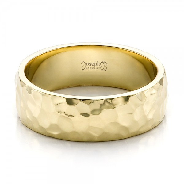 ... Custom Menu0027s Hammered Yellow Gold Wedding Band   Flat View   100269    Thumbnail ...