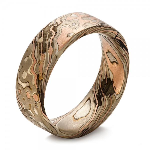 Custom Men S Mokume Wedding Band 100673