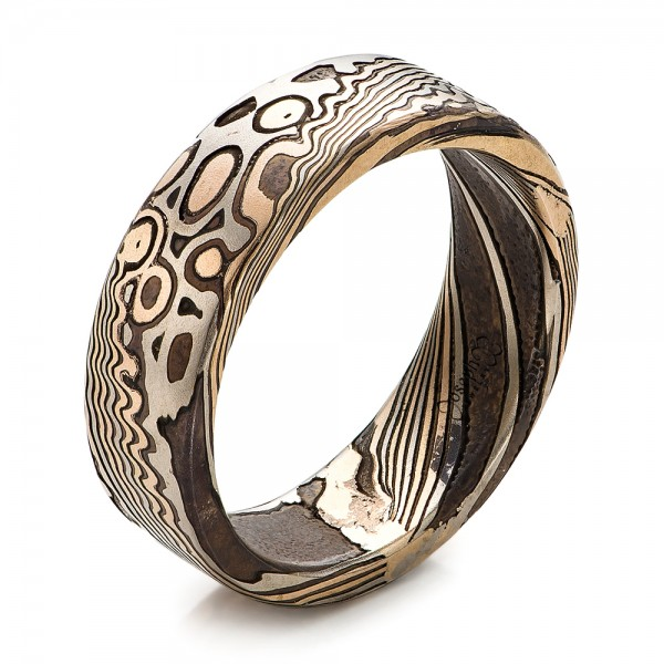 Custom Men's Mokume Wedding Band