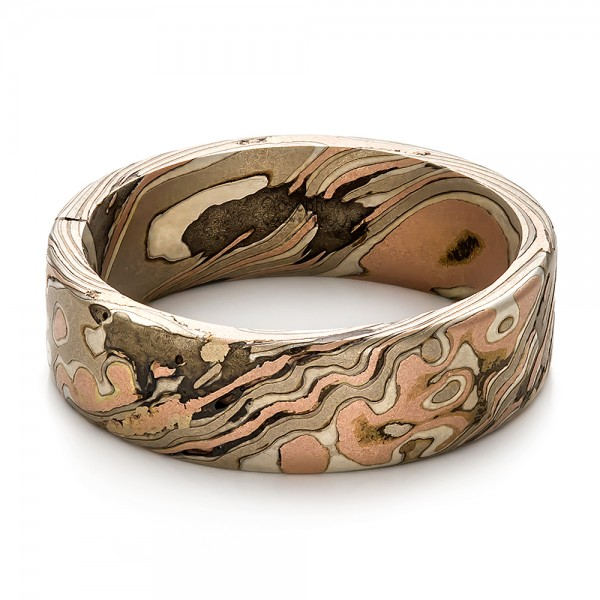 Custom Men's Mokume Wedding Band - Flat View -