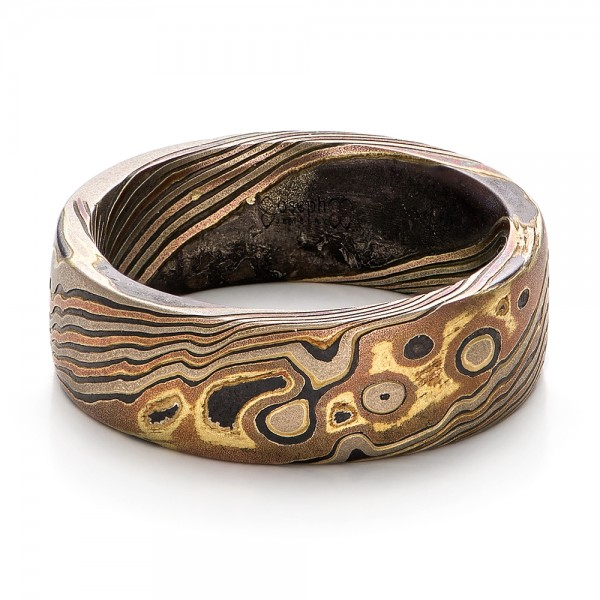 Custom men39s mokume wedding band 101215 for Personalized wedding rings