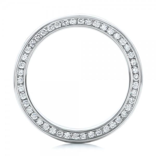 Custom Men's Mokume and Diamond Wedding Band - Finger Through View