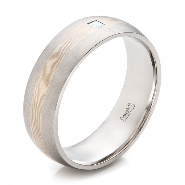 Custom Men's Palladium and Mokume Wedding Band