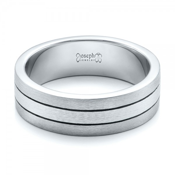 Custom Men's Platinum & Palladium Brushed Band - Flat View -  101072 - Thumbnail