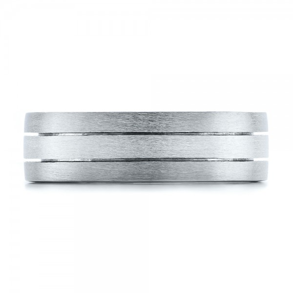 Custom Men's Platinum & Palladium Brushed Band - Top View -  101072 - Thumbnail
