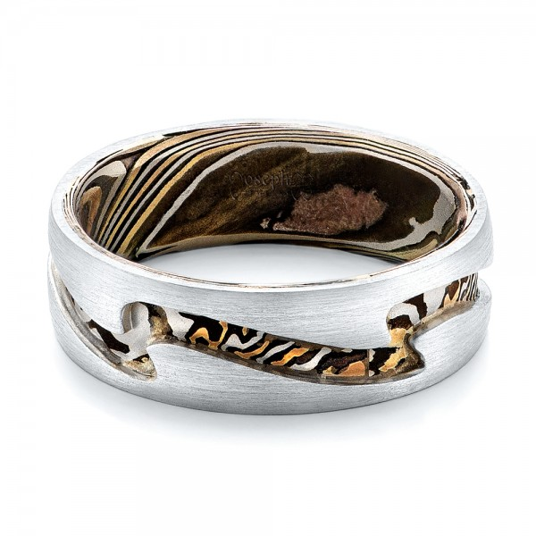 ring yhst wedding gane rings silver twist and mokume shakudo