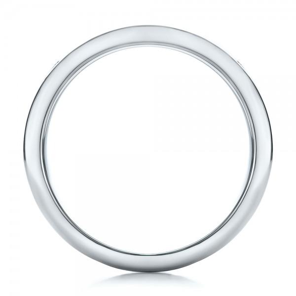 Custom Men's Platinum and Mokume Wedding Band - Finger Through View