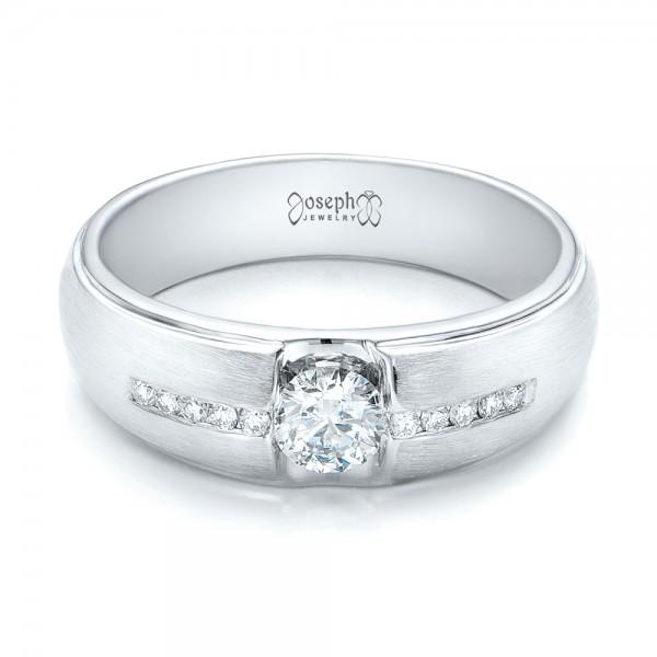 Custom Mens Tension Set Diamond Wedding Band 101220
