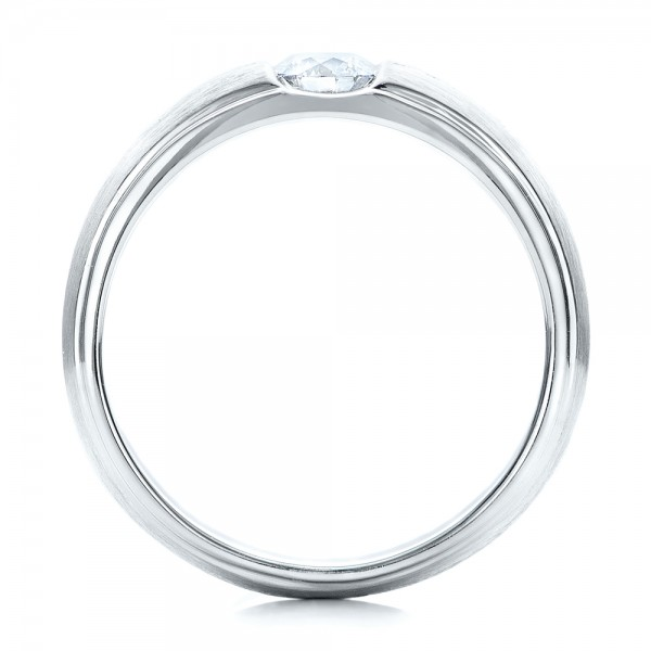 Custom Men's Tension Set Diamond Wedding Band - Finger Through View