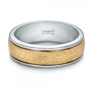 Custom Men's Two-Tone Hammered Finish Wedding Band